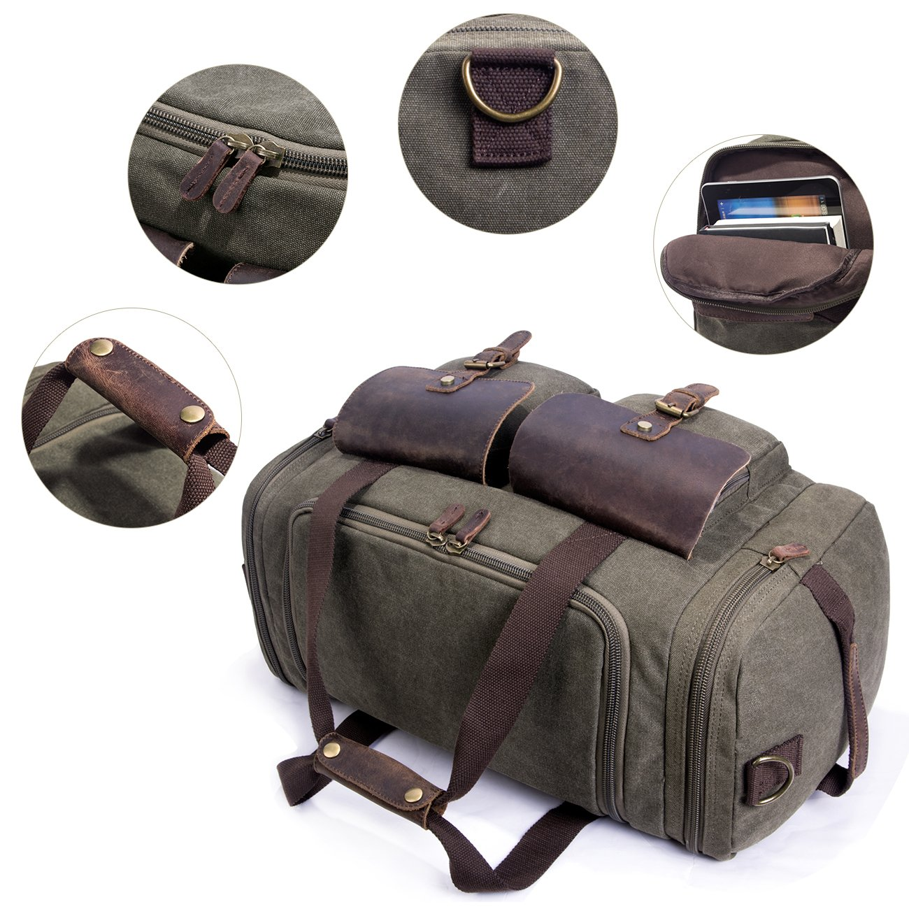 SUVOM Canvas Duffle Bag Leather Weekend Bag Carry On Travel Bag Luggage Oversized Holdalls for Men and Women(Army Green) by SUVOM (Image #3)