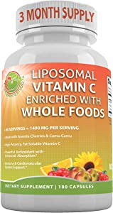 LIPOSOMAL Vitamin C Enriched with Organic Acerola Cherries & Camu Camu, Sunflower Lecithin, High Absorption,Potency & Bioavailability,1400 mg/Serving,90 Servings,180 caps,Gluten Free, Non-GMO, Vegan