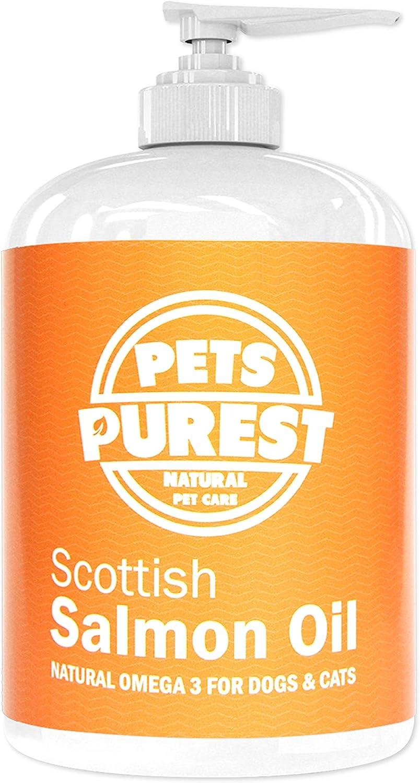 Pets Purest Aceite de salmón escocés puro Premium 100% Natural. Suplemento Omega 3, 6 y 9 para perros, gatos, caballos, hurones y mascotas. Promueve la salud del piel, las articulaciones y el cerebro