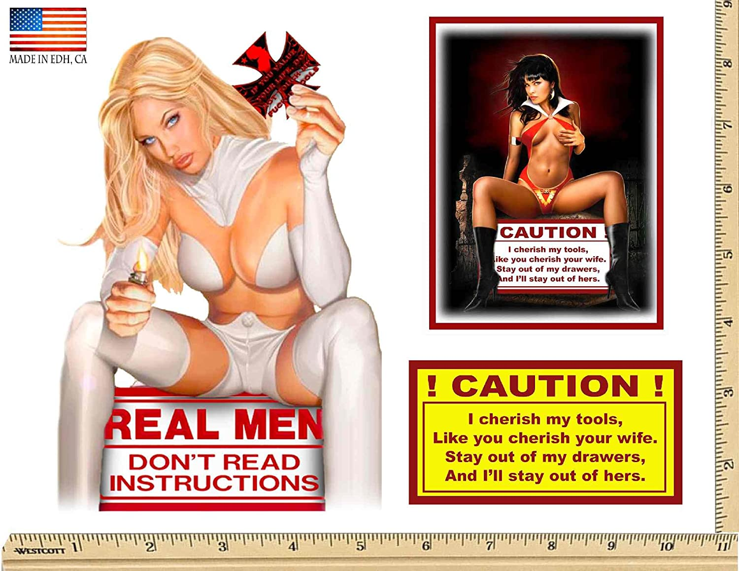 Warning Caution Toolbox 3 Sticker Set SNAP ON Craftsman Sexy Girl USA Decals