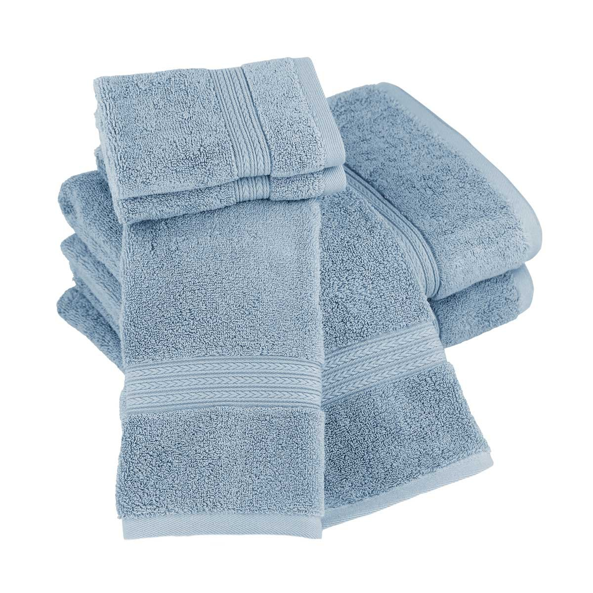 Luxor Linens New Arrival Bliss Collection Egyptian Cotton Classic 6-Piece Towel Set - Smoke Blue - with Gift Packaging by Luxor Linens (Image #3)