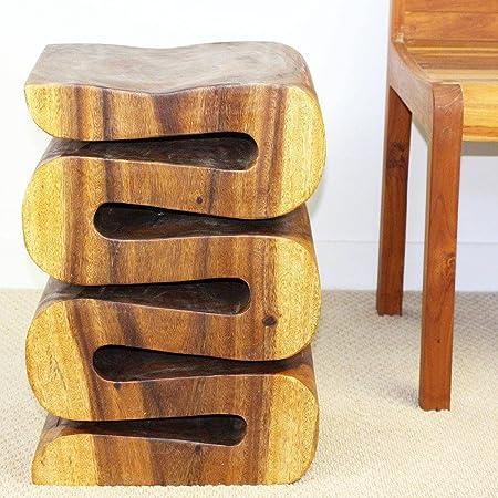 Haussmann Handmade 20-inch High Oak Oil Wave End Table Thailand