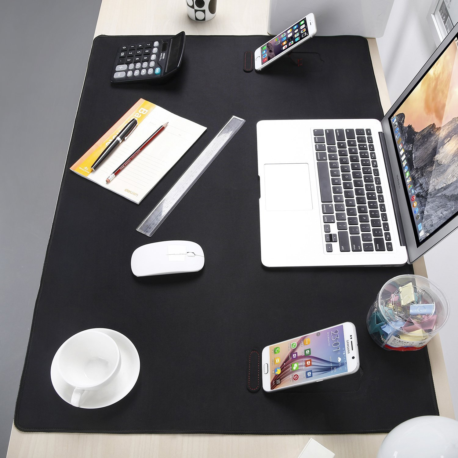 Large Extended Gaming Mouse Pad XXL, Vogek Thick Large 34''x23'' Computer Keyboard Mouse Mat Waterproof Desk Pad with 2 Kick Stands for Smart Phones Black by Vogek (Image #5)