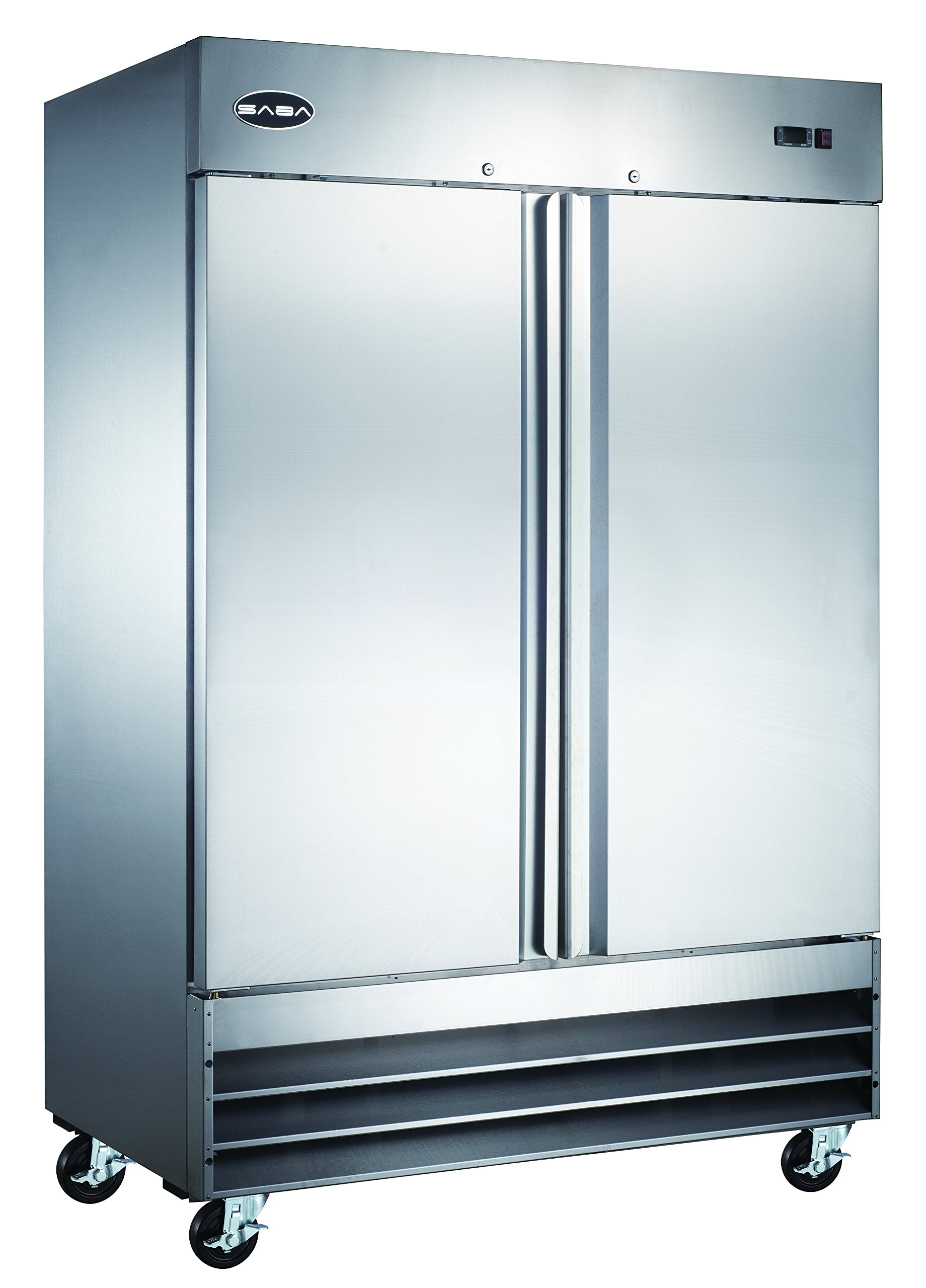 SABA Air CFD-2RR Heavy Duty 54'' Two Section Solid Door Stainless Steel Reach in Commercial Refrigerator--Capacity: 46.5 Cu. Ft.