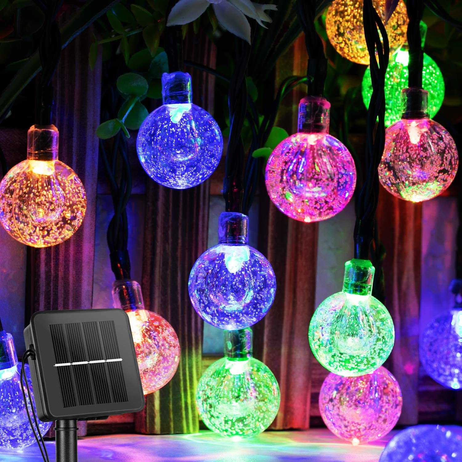 Solar String Lights Outdoor 60 Led 35.6 Feet Crystal Globe Lights with 8 Lighting Modes, Waterproof Solar Powered Patio Lights for Garden Yard Porch Wedding Party Decor (Multicolor)