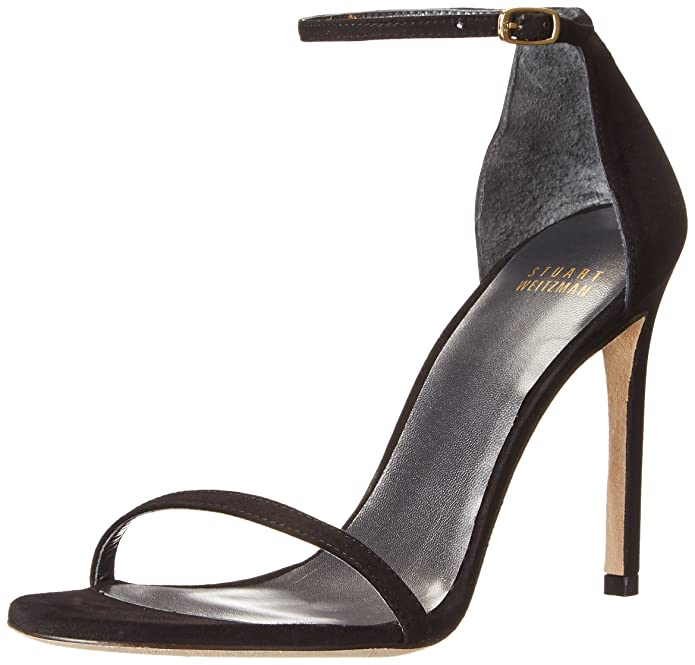 Stuart Weitzman Nudistsong Ankle Strap Sandal Black Leather