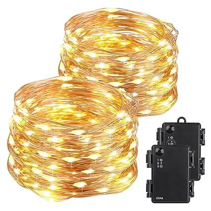 Amazon kohree christmas string light copper wire light kohree christmas string light copper wire light waterproof battery powered on 40 feet 120 leds long aloadofball Image collections