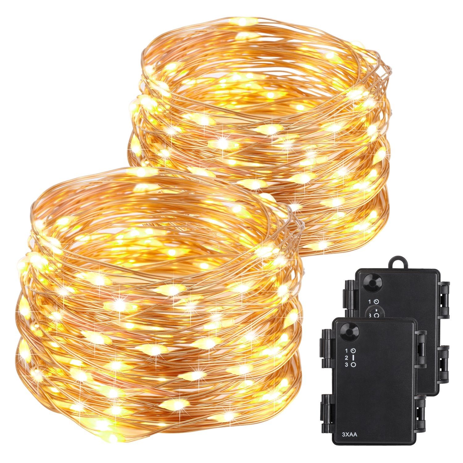 Kohree Christmas String Light Copper Wire Light Waterproof Battery Powered on 40 Feet 120 LEDs Long Ultra Thin String Copper Wire, Decor Rope Light with Timer Perfect for Weddings, Party, Bedroom, Xma