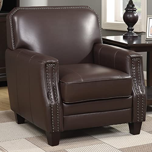 AC Pacific Leather Living Room Collection Contemporary Upholstered Full Grain Leather Club Arm Chair with Nailhead Trim, Brown