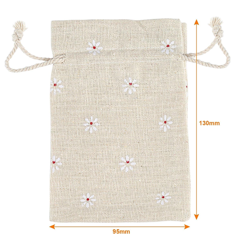 Naler 24pcs Sac de Cadeau Bijoux Perles Jute Pochettes Rouleaux Lin D/écor de Mariage No/ël Rouge 10 14cm