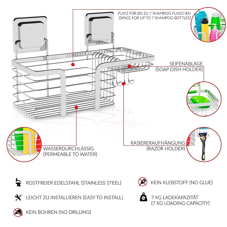 Mensola Portaoggetti da doccia senza foratura no buchi rettangolare muro ripiano scaffale per bagno con adesivo magico cestello organizer vassoio organizzatore mensola doccia acciaio inox