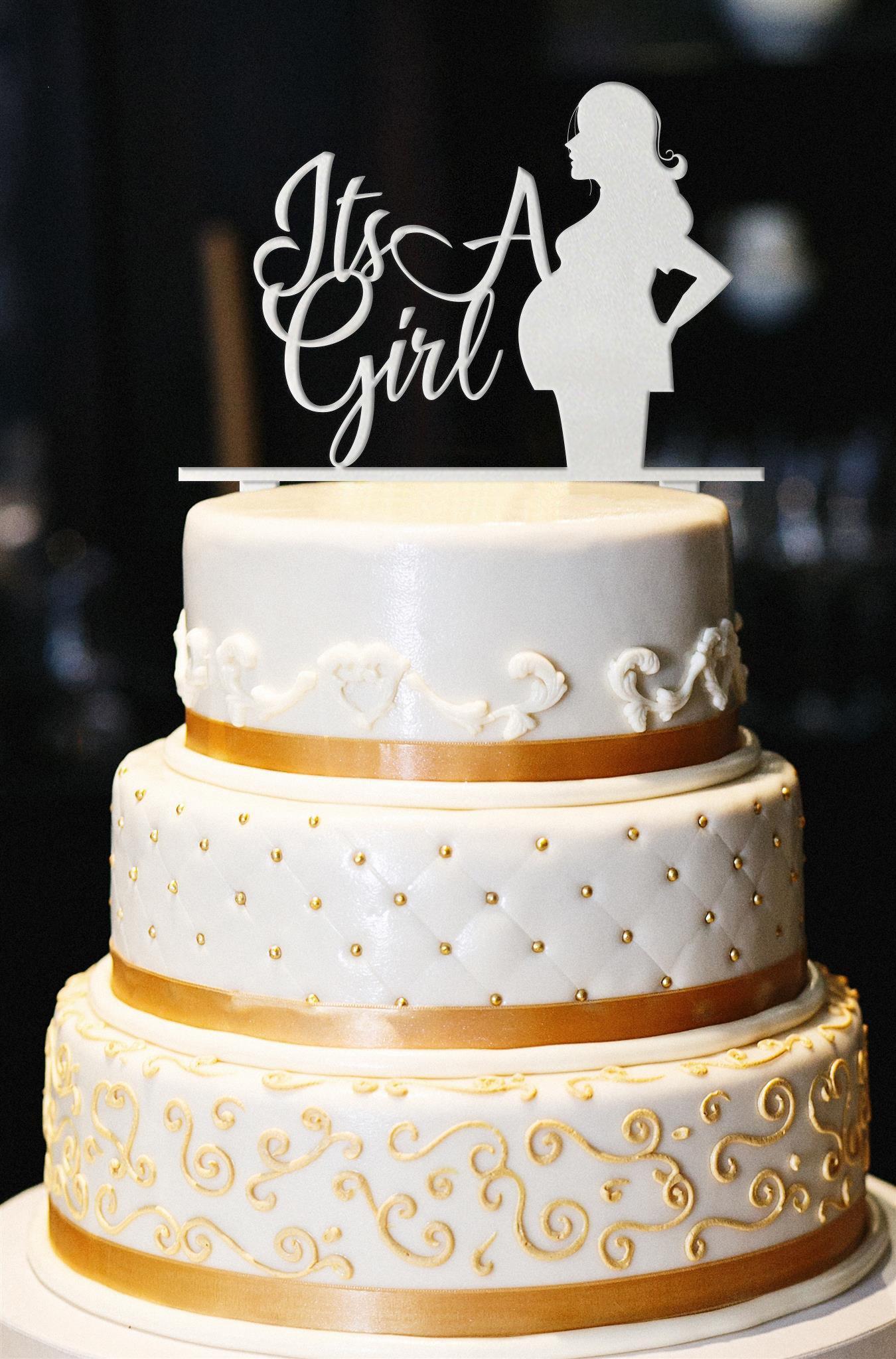 It's A Girl Cake Topper, Baby Bump Cake Topper, Glitter Baby Shower Cake Topper, Glitter Gender Reveal Cake Topper, Glitter Baby Shower (13'', Pearl White)