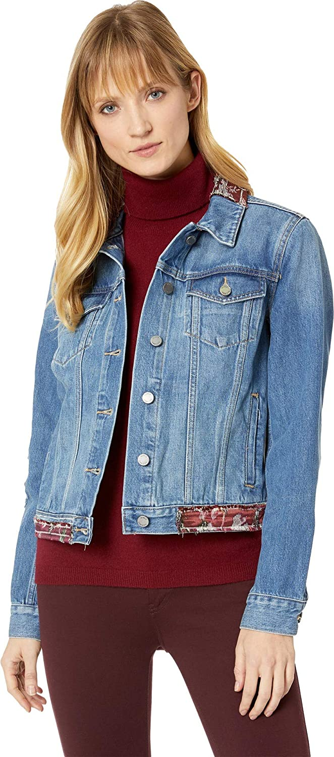 e5ff259601 Two by Vince Camuto Womens Tapestry Patchwork Classic Denim Jacket at  Amazon Women s Coats Shop