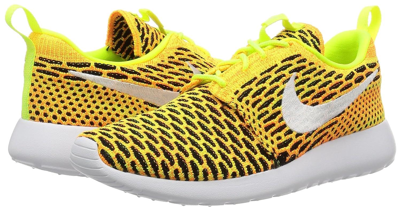 NIKE Womens Roshe One Flyknit Flyknit Colorblock Running Shoes B01HB54UOI 6 M US|Volt/White-total Orange-black