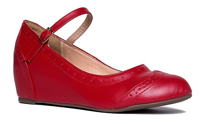 1940s Style Shoes, 40s Shoes J. Adams Minnie Mary Jane - Retro Round Toe Ankle Strap Wedge - Vintage Oxford $29.90 AT vintagedancer.com
