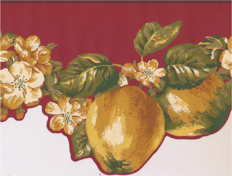 Roll 15 ft Pear Cherry Grape Apple Plum on Vine Scalloped Wall Border Retro Design Prepasted Wallpaper Border x 4 in.