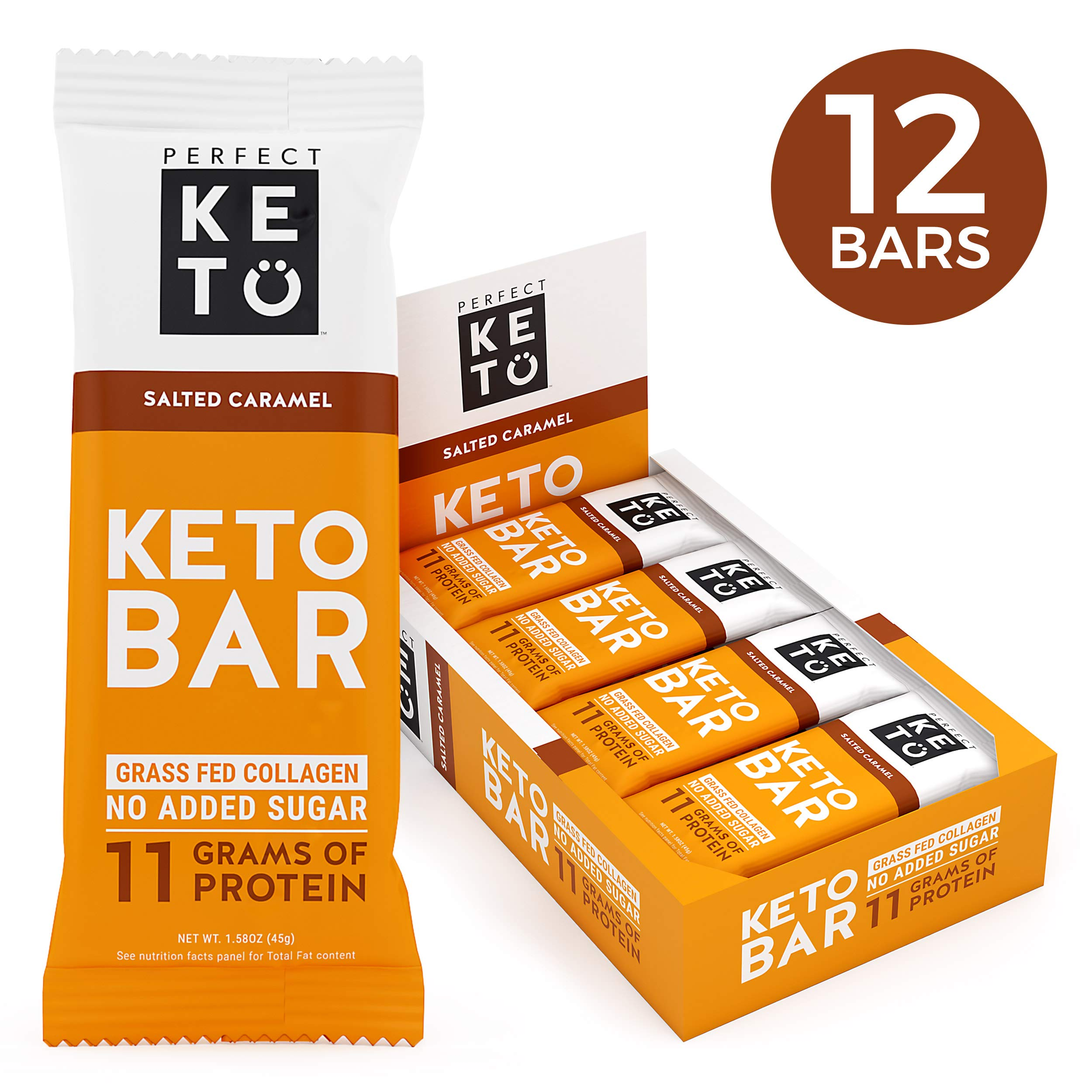Perfect Keto Bar, Keto Snack (12 Count), No Added Sugar. 10g of Protein, Coconut Oil, and Collagen, with a Touch of Sea Salt and Stevia. (12 Bars, Salted Caramel) by Perfect Keto