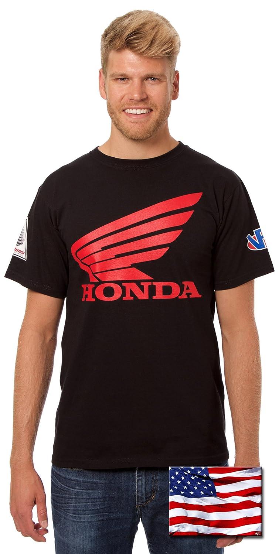 JH Design Honda Logo T-Shirt with American Flag Sticker Mens Crewneck T-Shirts HON803RAC4