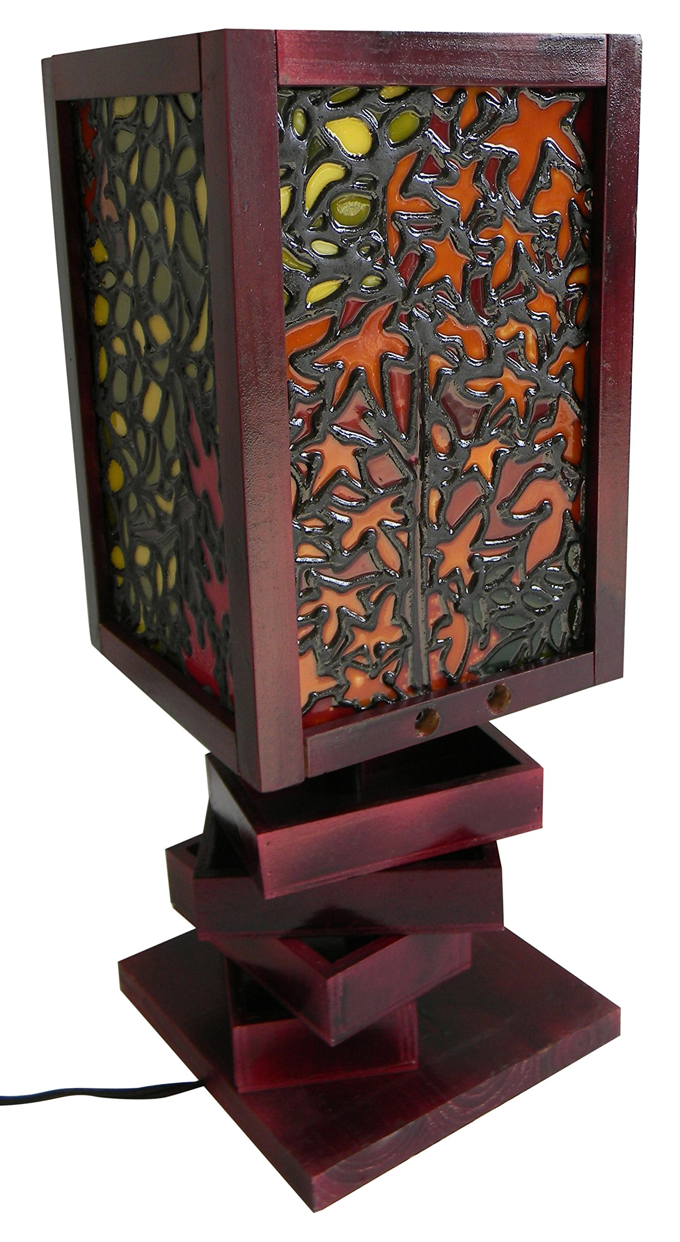 TIFFARTY 7-7/8 x 20'' Stained Glass Style Falling Leaves Table Lamp with 3 Turning Storage, Small, Brown