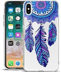 Girlscases® | iPhone XS Hülle, iPhone X/10 Hülle Traumfänger/Dreamcatcher Schutzhülle aus Silikon mit Traumfänger/Dreamcatcher Aufdruck/Motiv Glänzend | Farbe: Blau