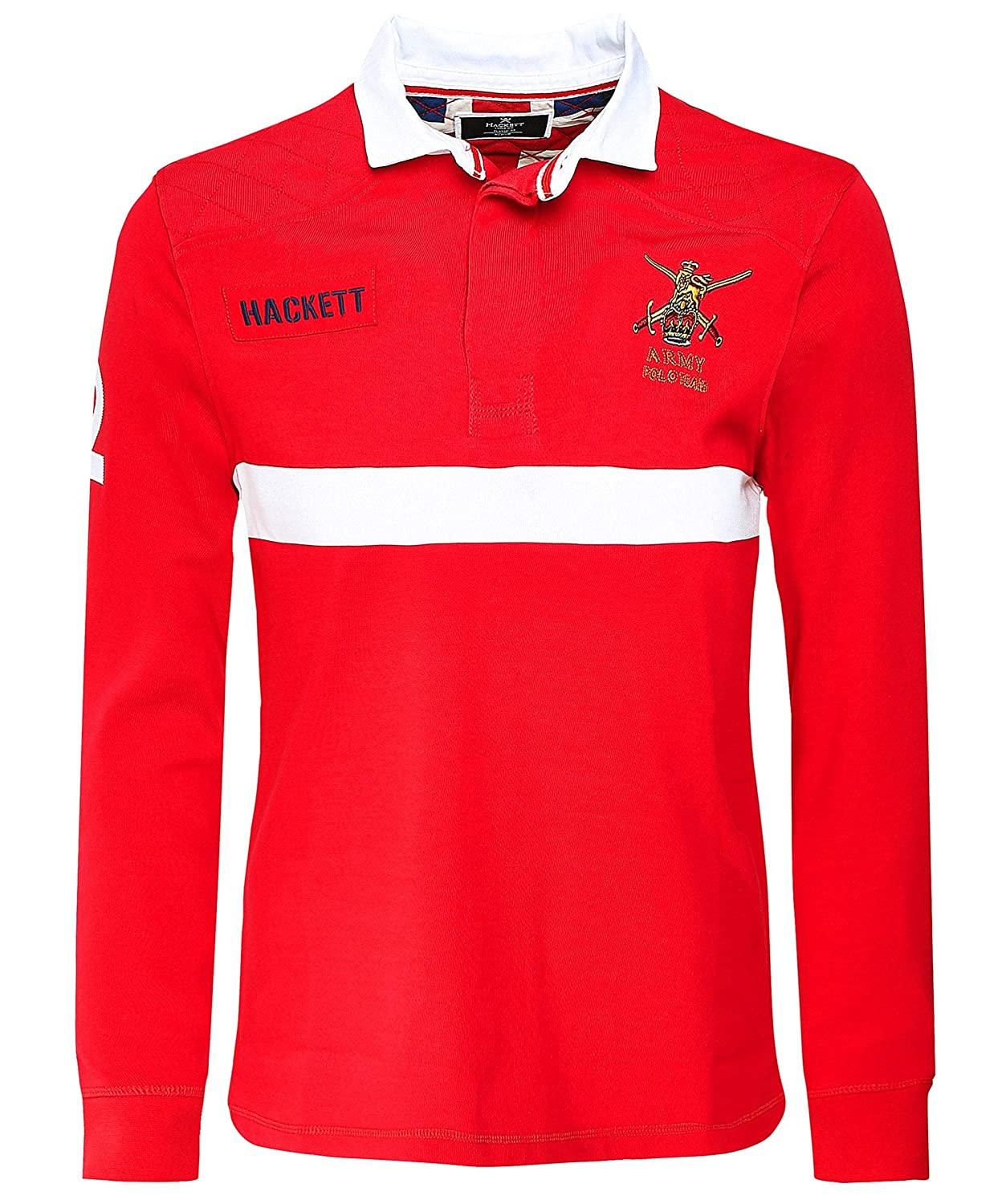 Hackett Mens Classic Fit Long Sleeve Army Polo Shirt XL Red