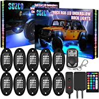 SUZCO 10-pods Trucks LED RGB Neon Underglow Rock Lights Kit, 【Dual-Zone】+【160LEDs】+【2-in-1 Line】 Sync Music Under Wheel…