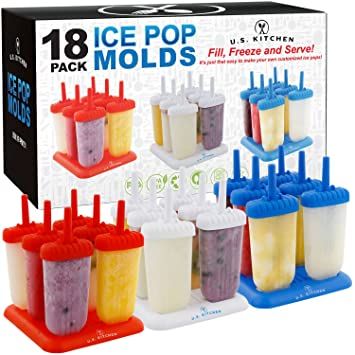 U.S. Kitchen Supply 18 Piece Classic Reusable Jumbo Ice Pop Mold Set