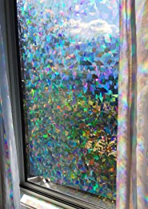 """Decorative Window Film Holographic Prismatic Etched Glass Effect - Fill Your House with Rainbow Light 23"""" X 36"""" Panel - Crystal Pattern"""