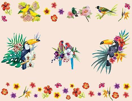 Details about  /Tropische Vögel Lilane Blumen Wandtattoo WS-47623