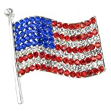 Amazon Price History for:Large Silver American Flag Brooch Pin - Red, Clear, and Royal Blue Crystals