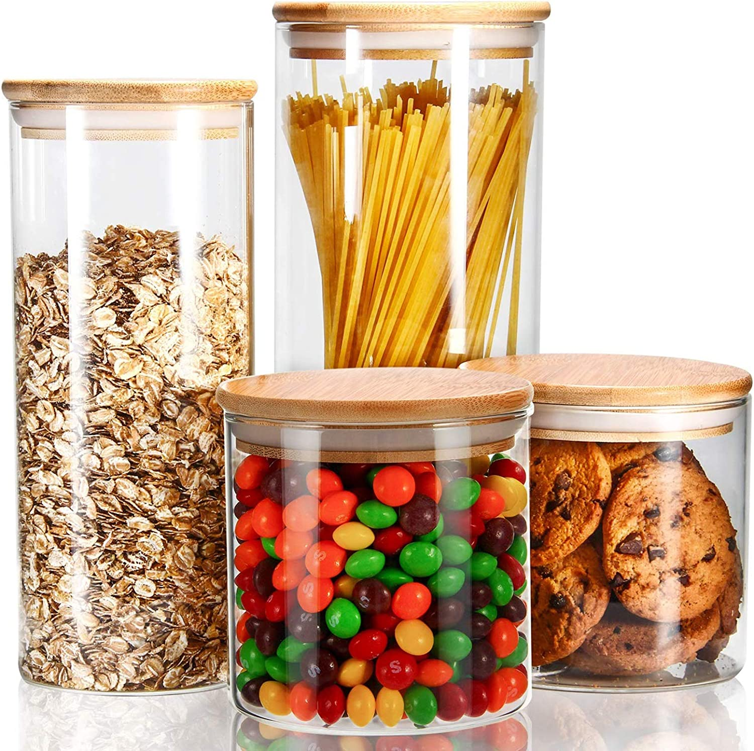 Kitchen Glass Airtight Wood Lid Storage Jar Candy Rice Food Canister Container