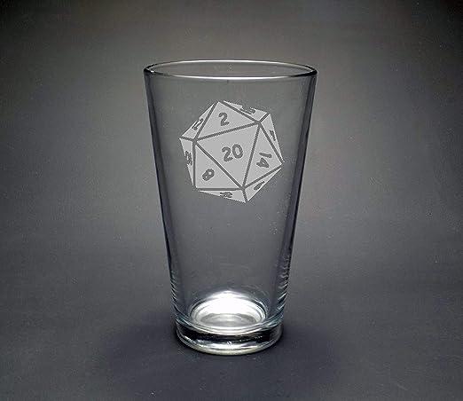 D 20 Dice Glass, Dungeon Master Gamer regalo, mesa Gamer regalo ...