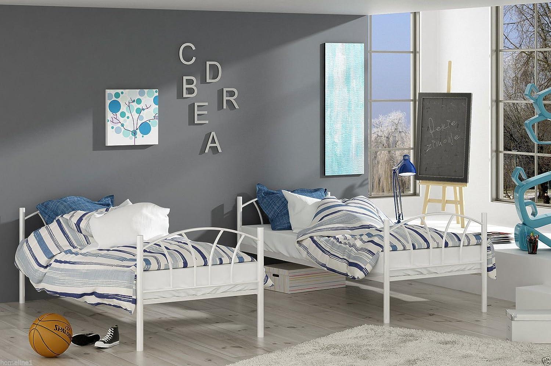 Etagenbett Hochbett Aus Metall : Etagenbett hochbett stockbett metall lattenrost neu 90x200 cm blau