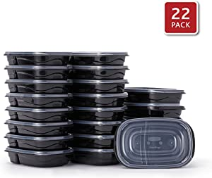 Rubbermaid 2108376 TakeAlongs Food Storage Divided Base, 3.7 Cup, Set of 22 (44 Pieces Total) | Meal Prep Containers Bento Box Style, 22-Pack, Black