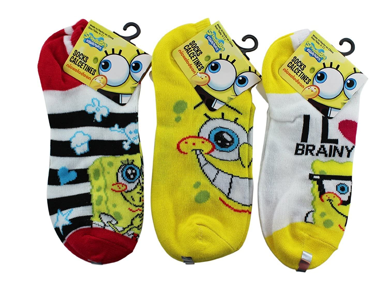 Amazon.com: 3 Piece Spongebob Squarepants Booty Socks (Assorted) - Spongebob Booty Socks ...: Clothing