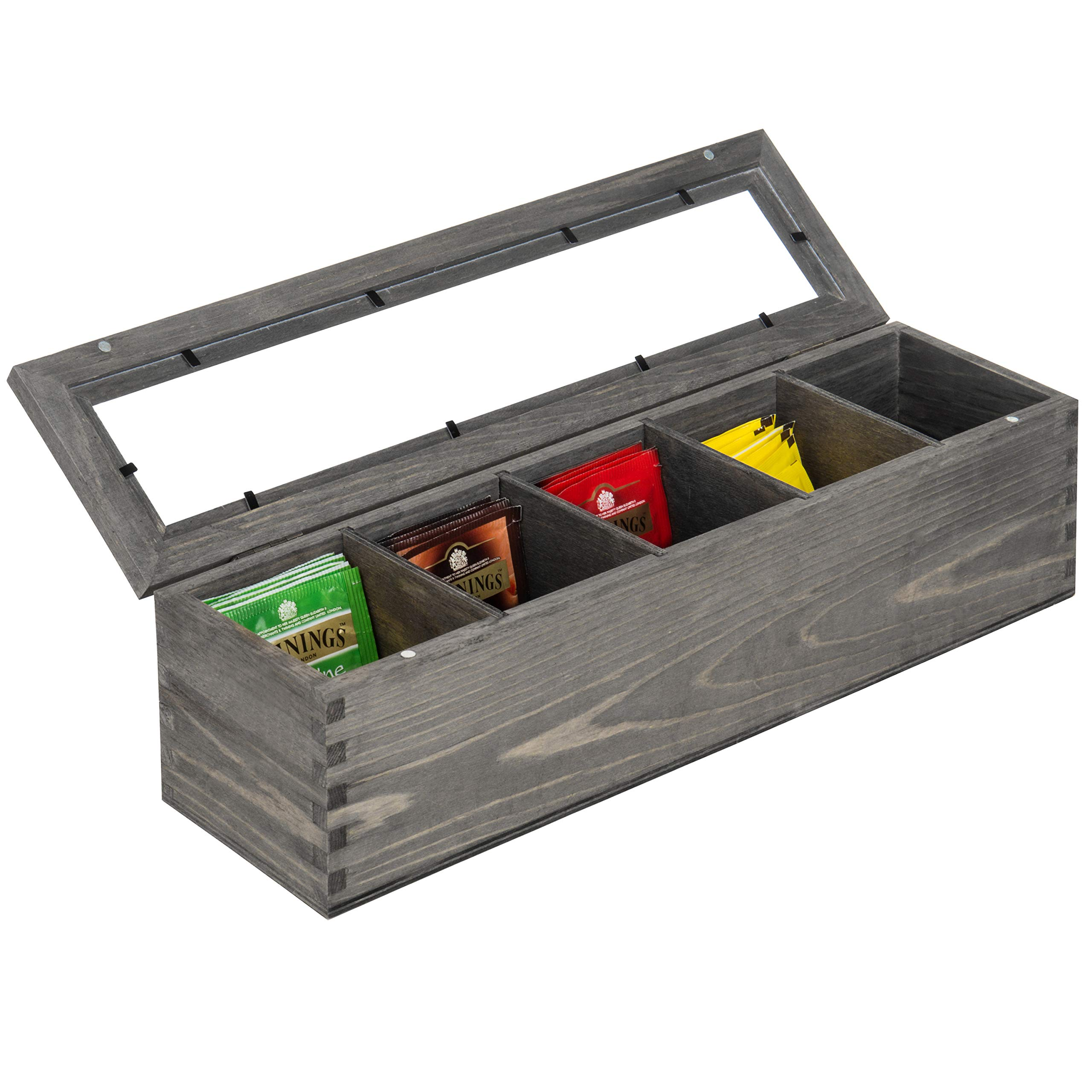 MyGift Rustic Gray Wood 5-Compartment Tea Bag Box with Clear Lid by MyGift