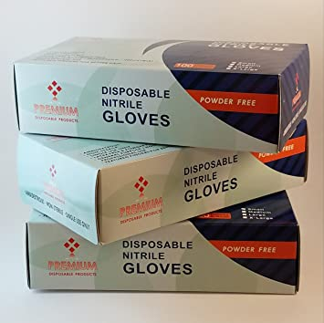 Nitrile Gloves by PREMIUM Disposable Products | 100 Count Box, Powder Free,  Latex Free |