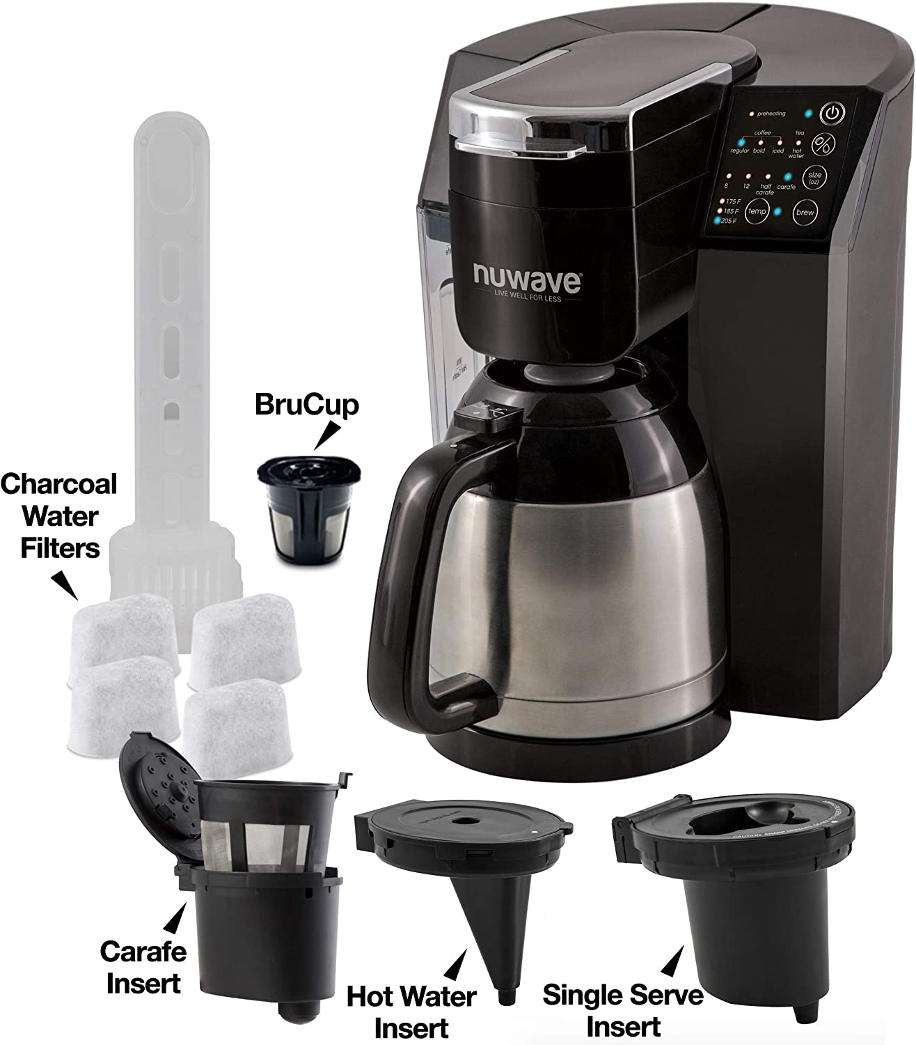 NUWAVE BRUHUB ULTIMATE 3-in-1 coffee system with 3 inserts, reusable BruCup, 3 strength settings, 4 charcoal filters, temperature control & vacuum insulated stainless-steel double-walled carafe