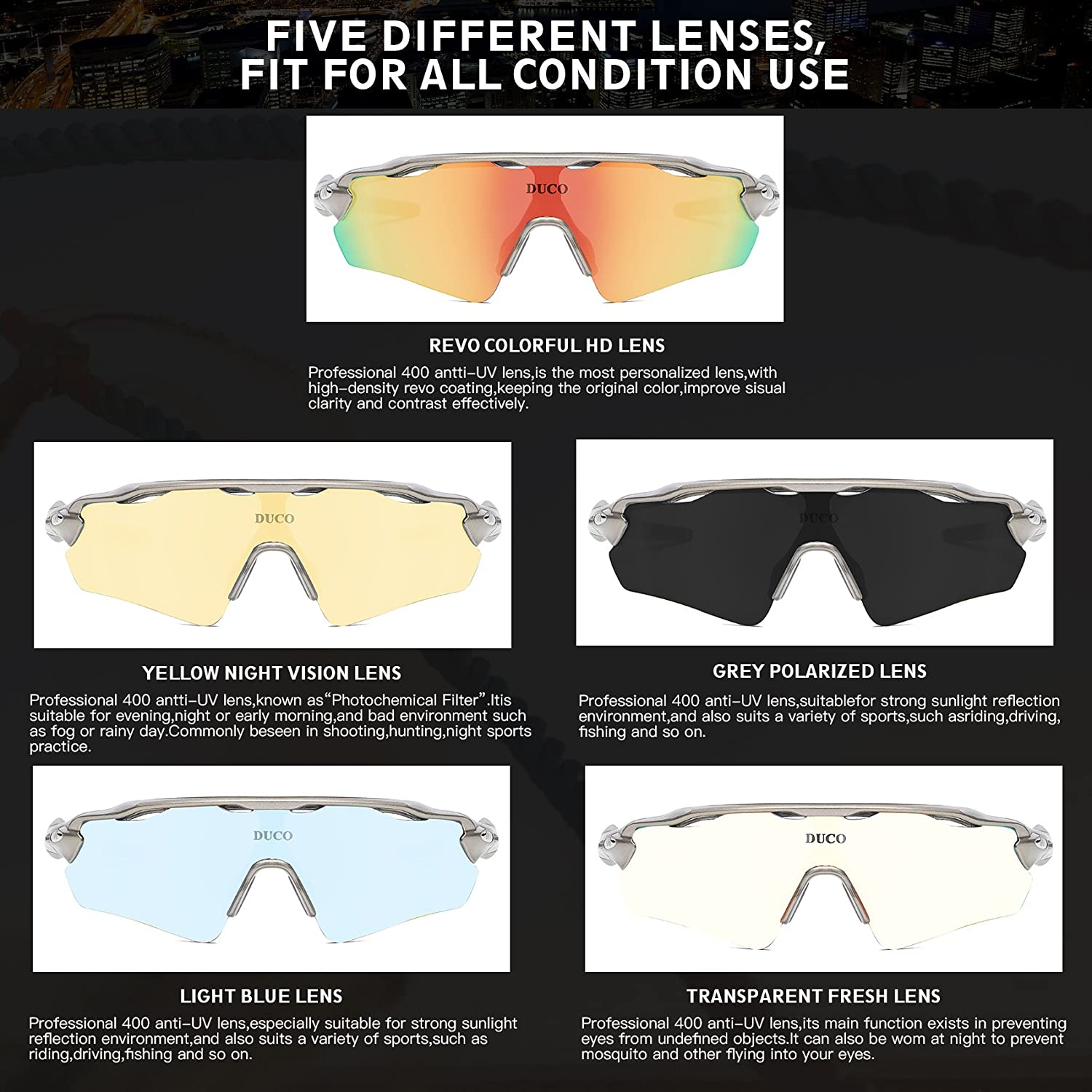 7e4ce7e563 Polarized Sports Sunglasses Cycling Glasses with 5 Interchangeable Lenses   Amazon.ca  Sports   Outdoors