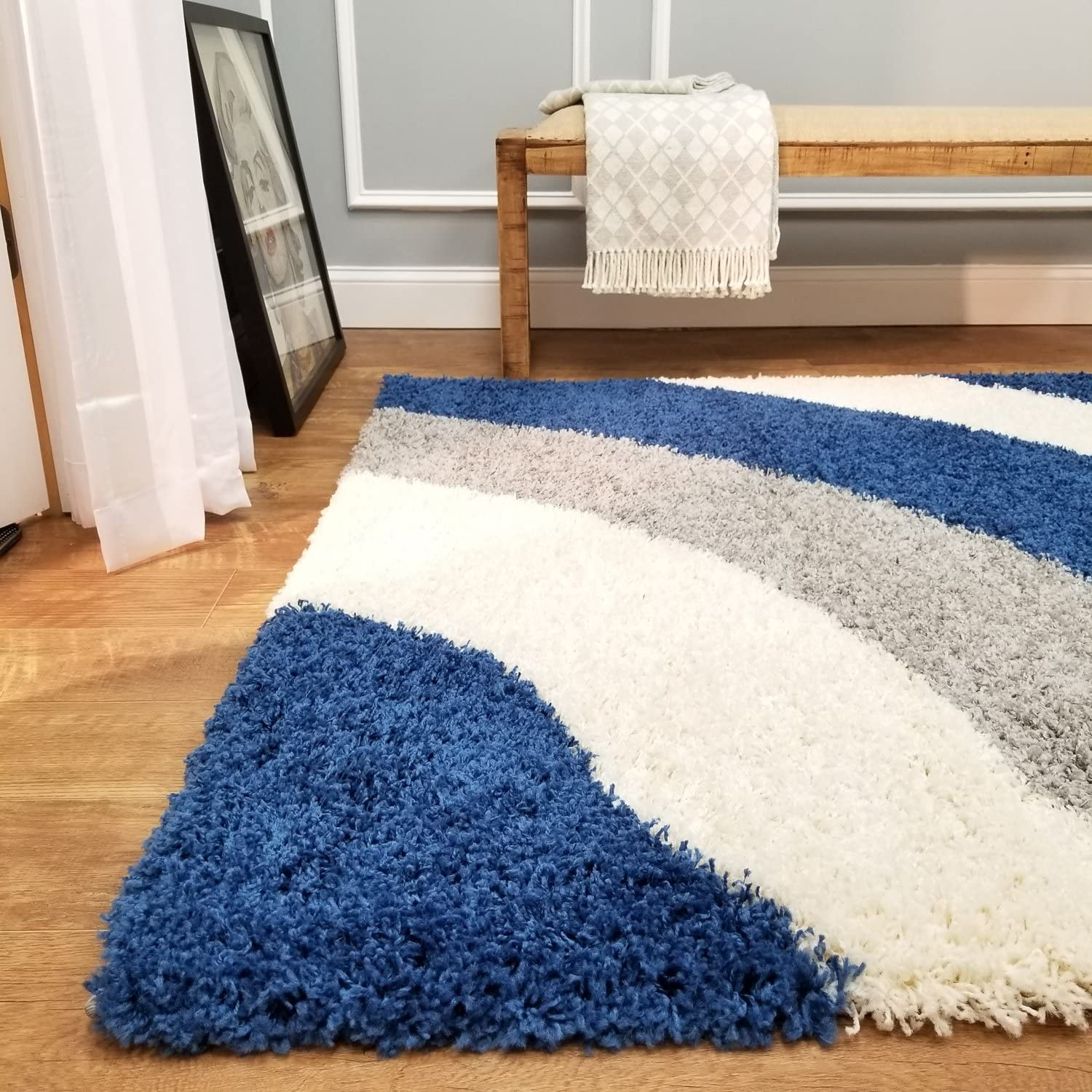 Soft Shag Area Rug 5x7 Geometric Striped Ivory Blue Grey Shaggy Rug Contemporary Area Rugs For Living Room Bedroom Kitchen Decorative Modern Shaggy Rugs Amazon Co Uk Kitchen Home