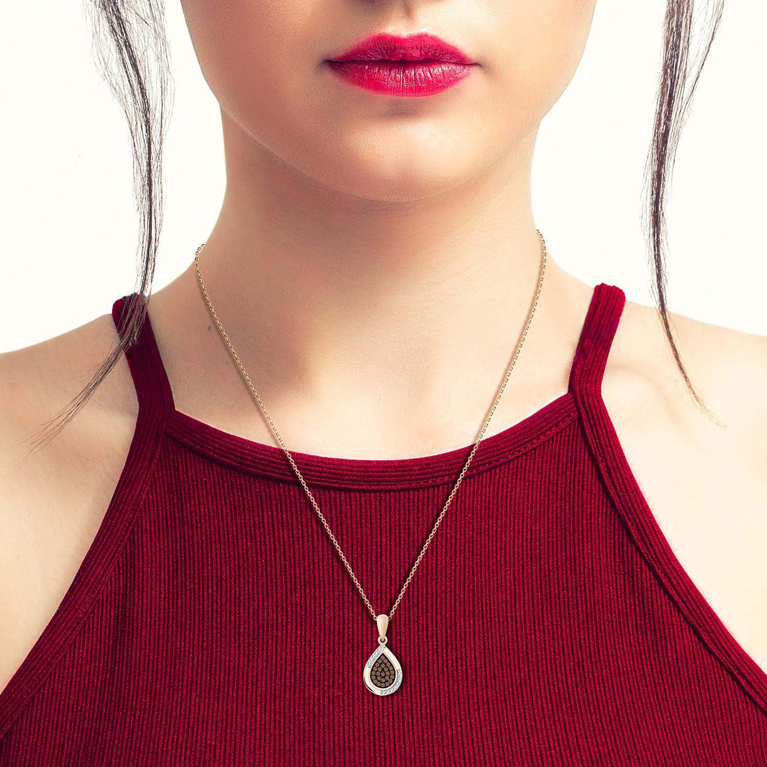 Eternal Bliss 1//6 cttw Round White /& Brown Diamond Pear Drop Pendant with 18 Chain Necklace