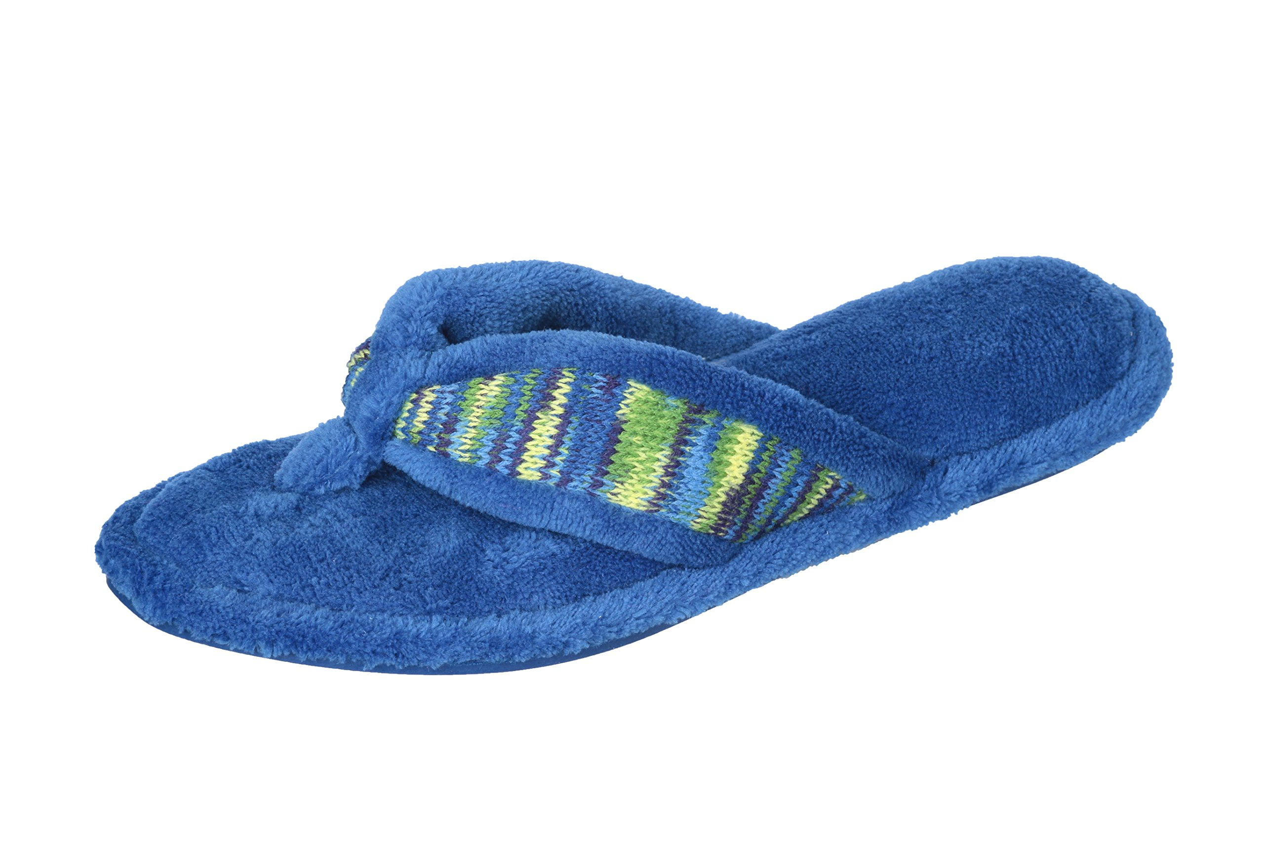 Joan Vass Woman's Spa Thong Flipflop Slippers in Fun Chic Embroidered Colors (Medium, Blue)