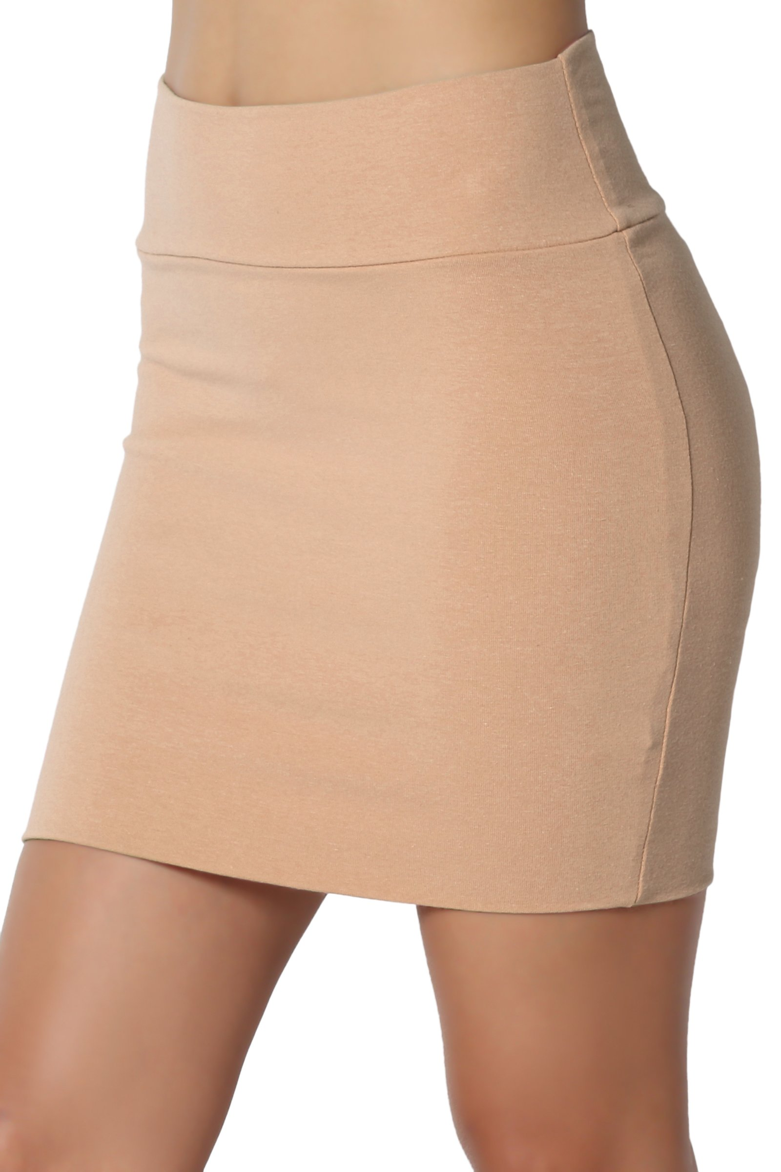 TheMogan Junior's Stretch Cotton Jersey Lined Bodycon Tube Mini Skirt Khaki L