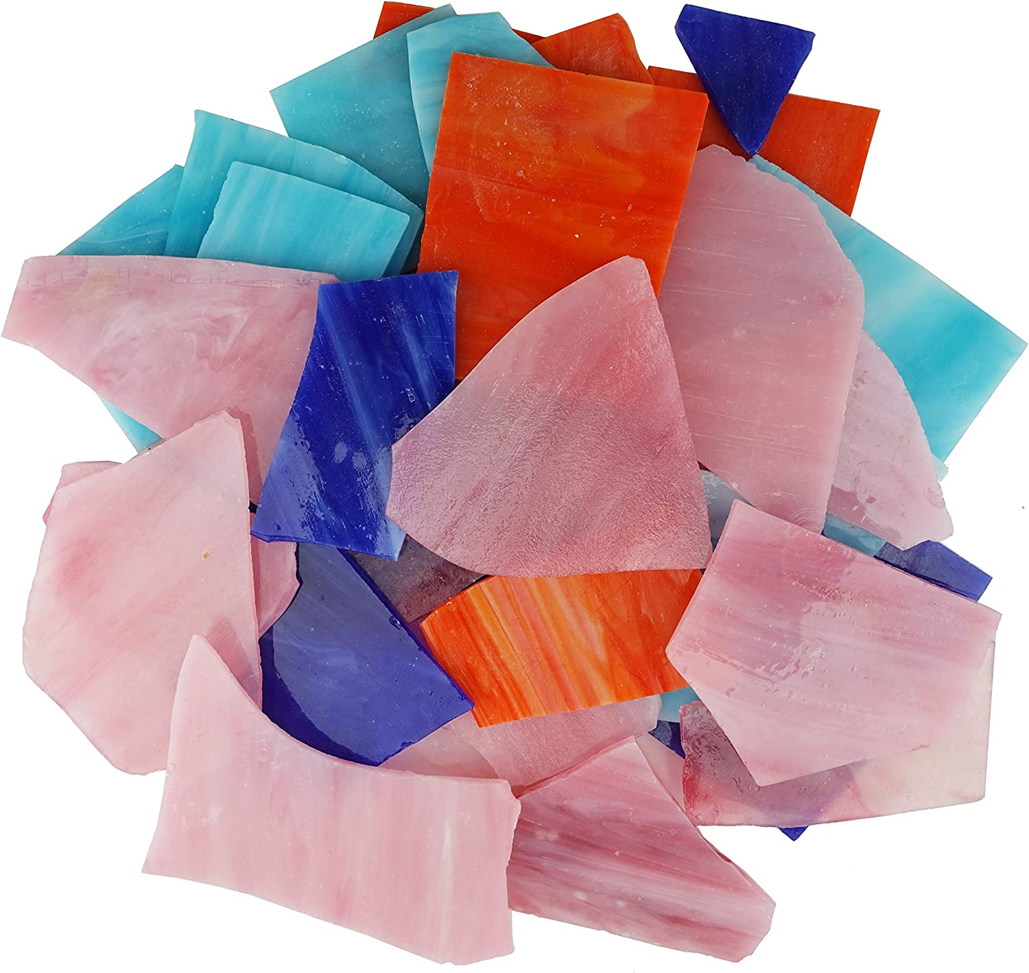 Glass Mosaics Pieces Bright Stained Glass Tiles ,Irregular Shapes and 35 Ounce Value Pack (Pink)