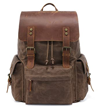 1967c84e1658 Kattee Large Leather Canvas Backpack School Bag Outdoor Travel Rucksack  (Coffee)