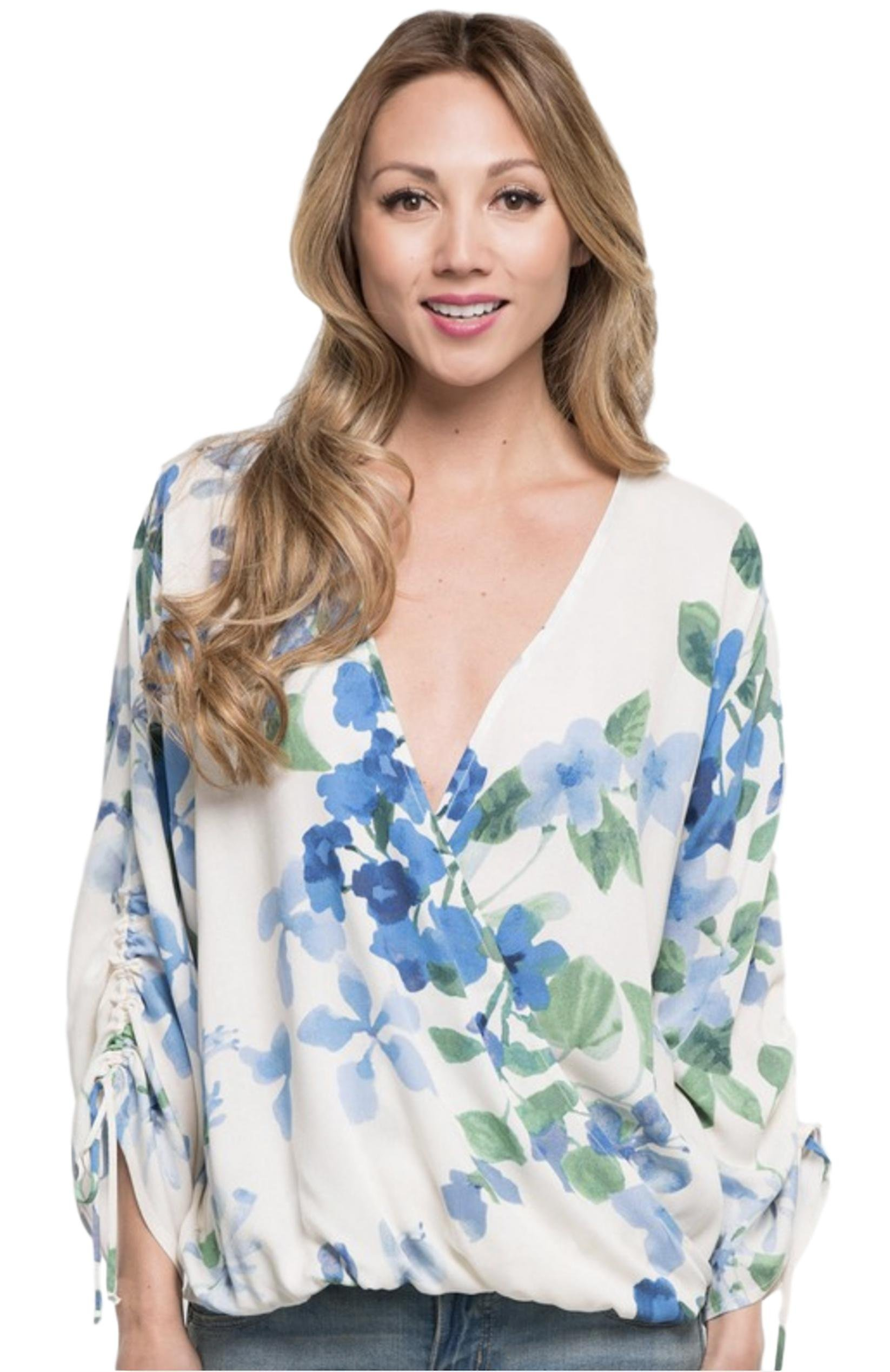 Love Stitch Women's Watercolor Floral Printed Surplice Top with Shirred Tie Sleeves (Navy/Light Blue, Large)