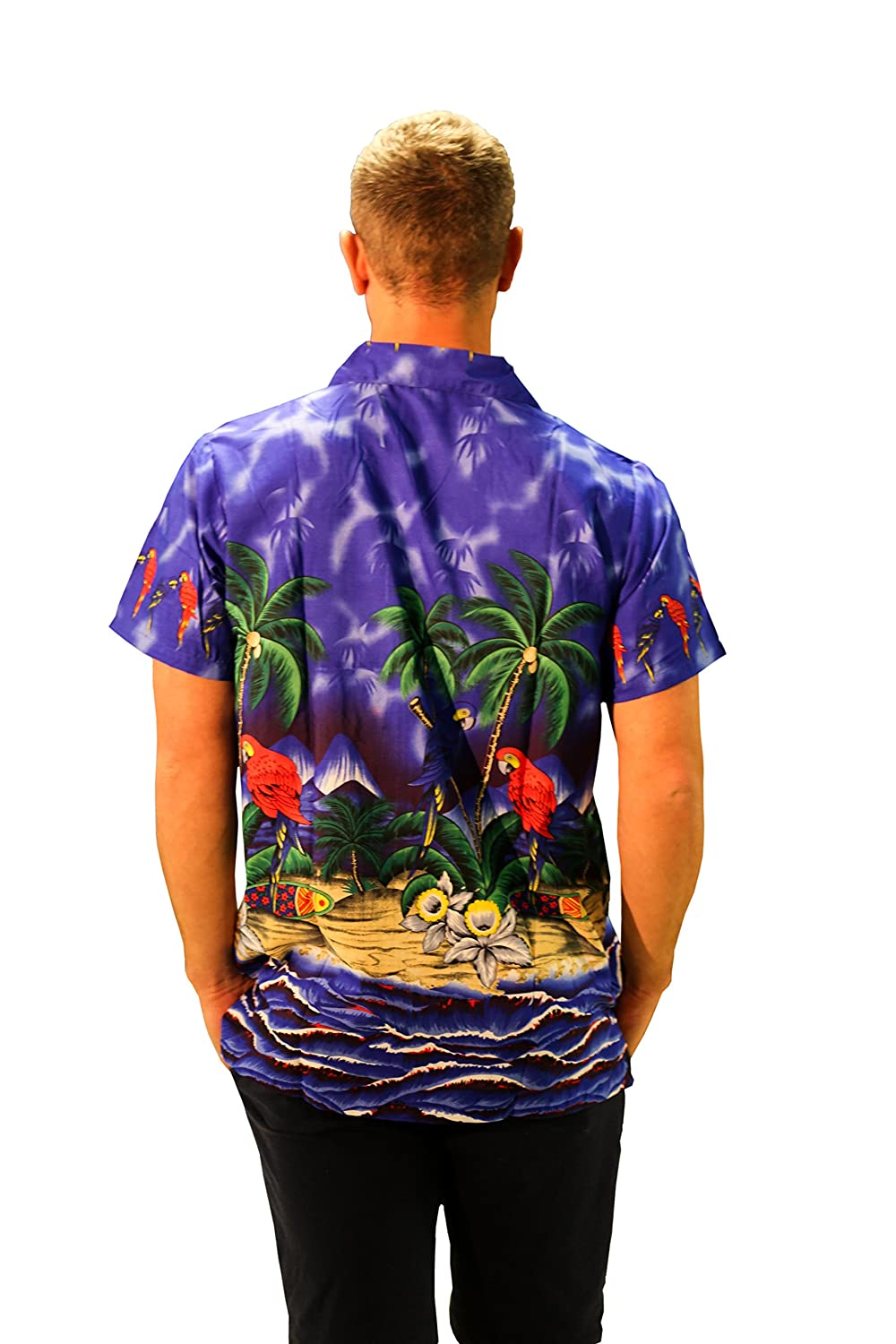 Mens Hawaiian Shirt Short Sleeve Parrot STAG Beach Holiday Bird ...