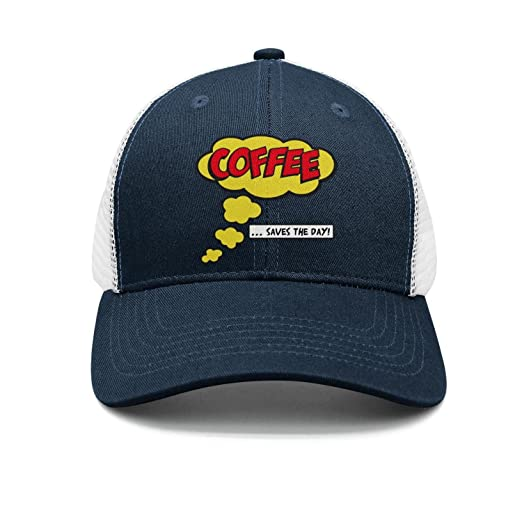 tuyyi fhyt Fitted Adjustable Coffee Saves The Day Funny Saying Visor Hats  mesh Pattern Cap 6c24e604021