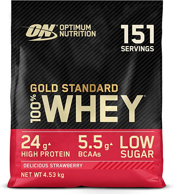 Optimum Nutrition Gold Standard 100% Whey Proteína en Polvo, Glutamina y Aminoácidos Naturales, BCAA, Fresa Deliciosa, 151 Porciones, 4,53kg, Embalaje ...