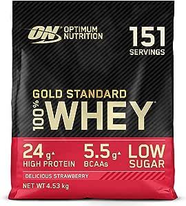 Optimum Nutrition Gold Standard 100% Whey Proteína en Polvo, Glutamina y Aminoácidos Naturales, BCAA, Fresa Deliciosa, 154 Porciones, 4,54kg, Embalaje ...